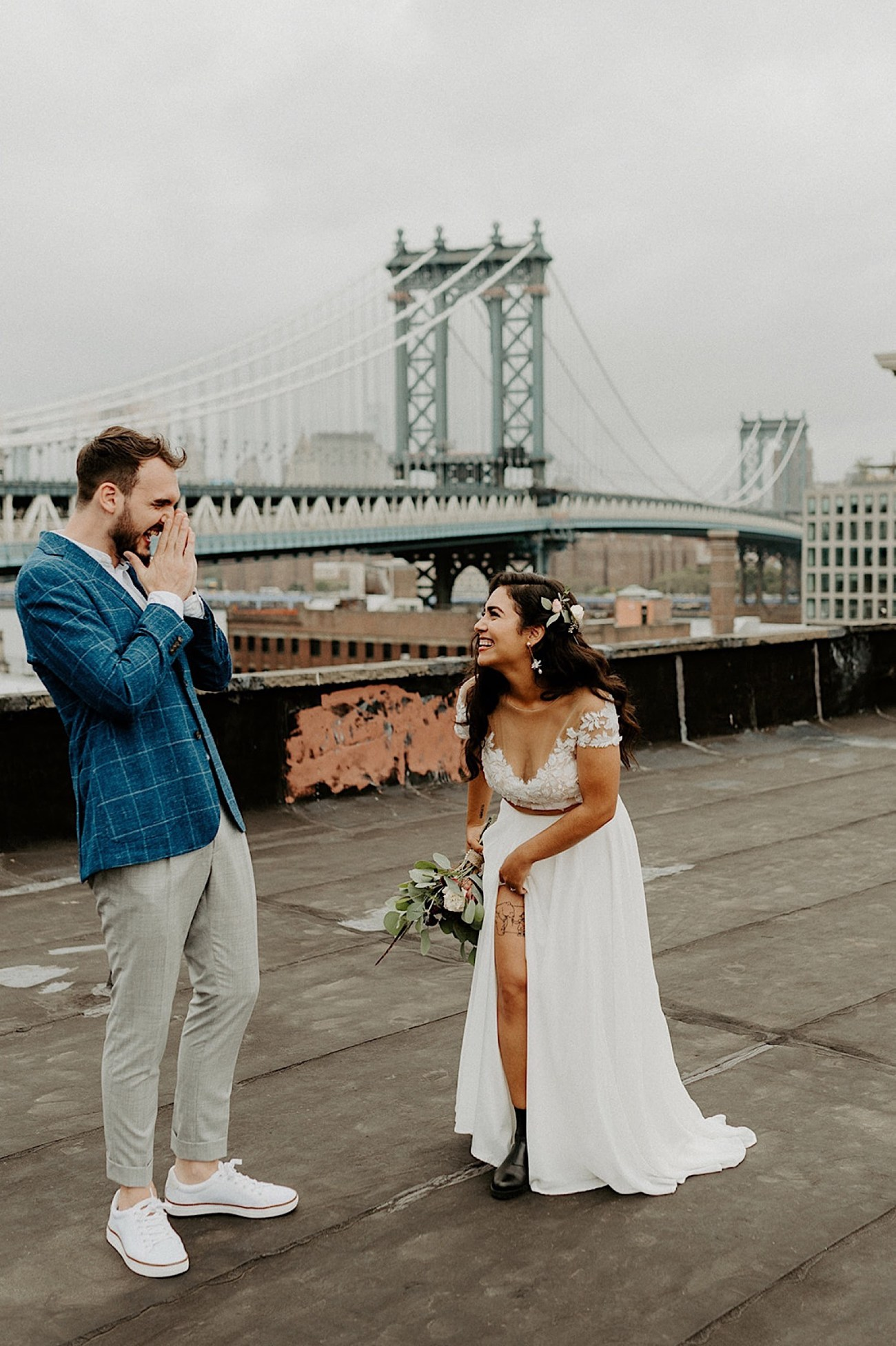 057 Brooklyn Rooftop Wedding New York Wedding Photographer Brooklyn Dumbo Elopement