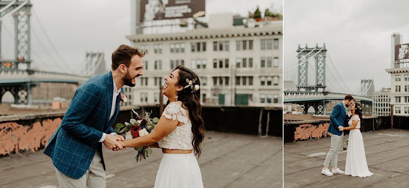 Brooklyn Rooftop Elopement Wedding First Look 009 (1)