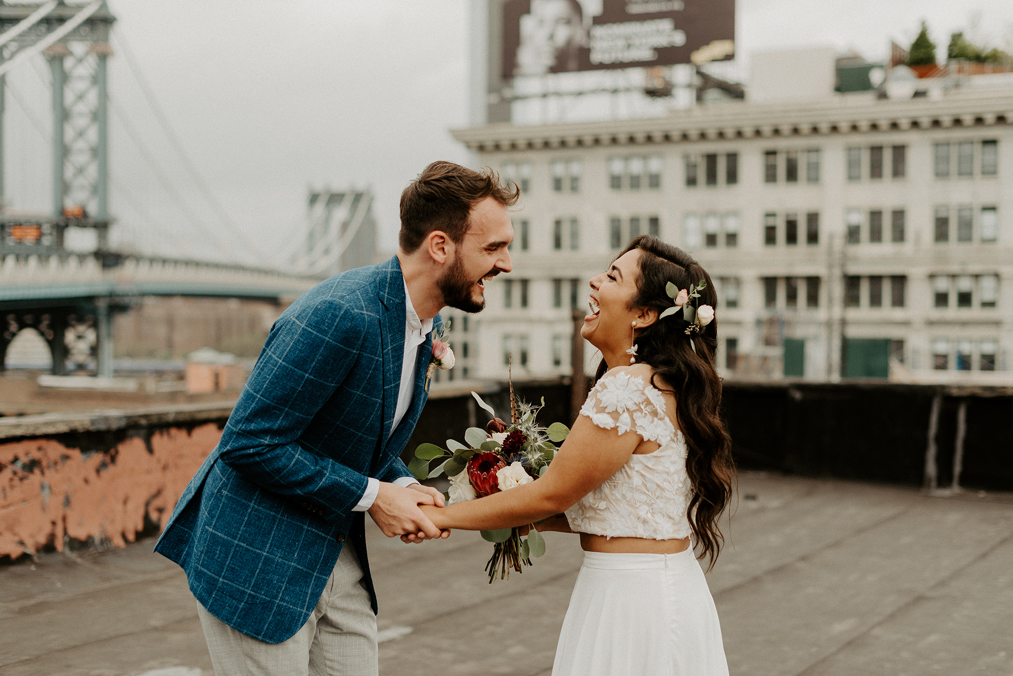Brooklyn Rooftop Elopement Wedding First Look 020