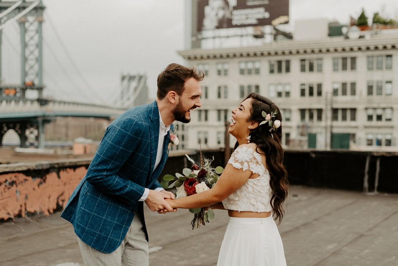 Brooklyn Rooftop Elopement Wedding First Look 020