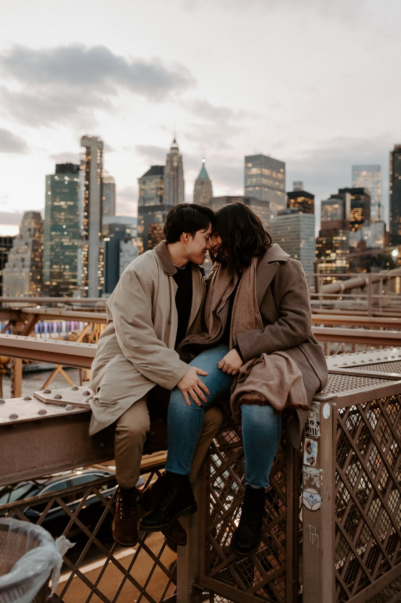 Brooklyn Bridge Sunset Couple Session New York Wedding Photographer NYC Best Engagement Photos Location Anais Possamai Photography 16