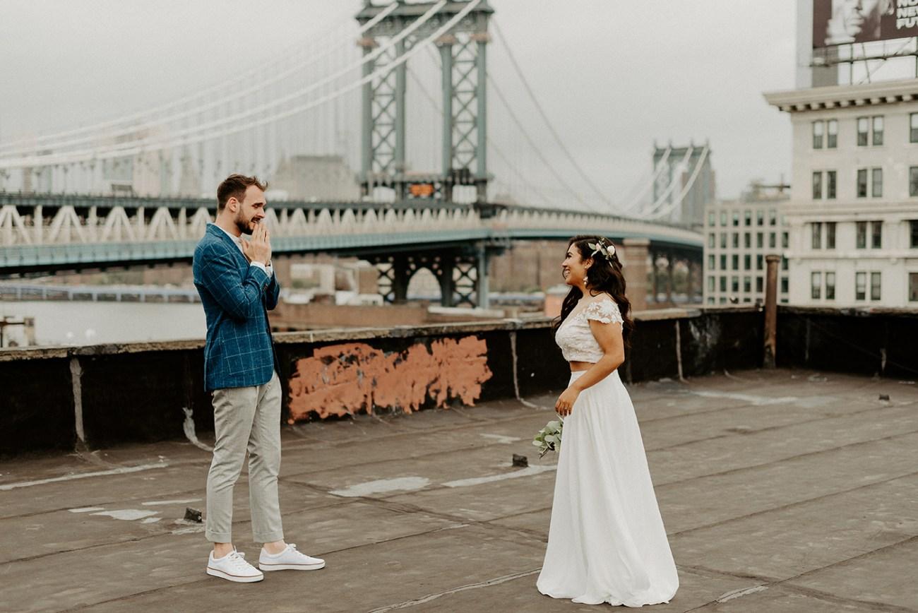 Dumbo Rooftop Elopement Williamsburg Wedding New York Wedding Photographer Boho Industrial Elopement Inspiration 025