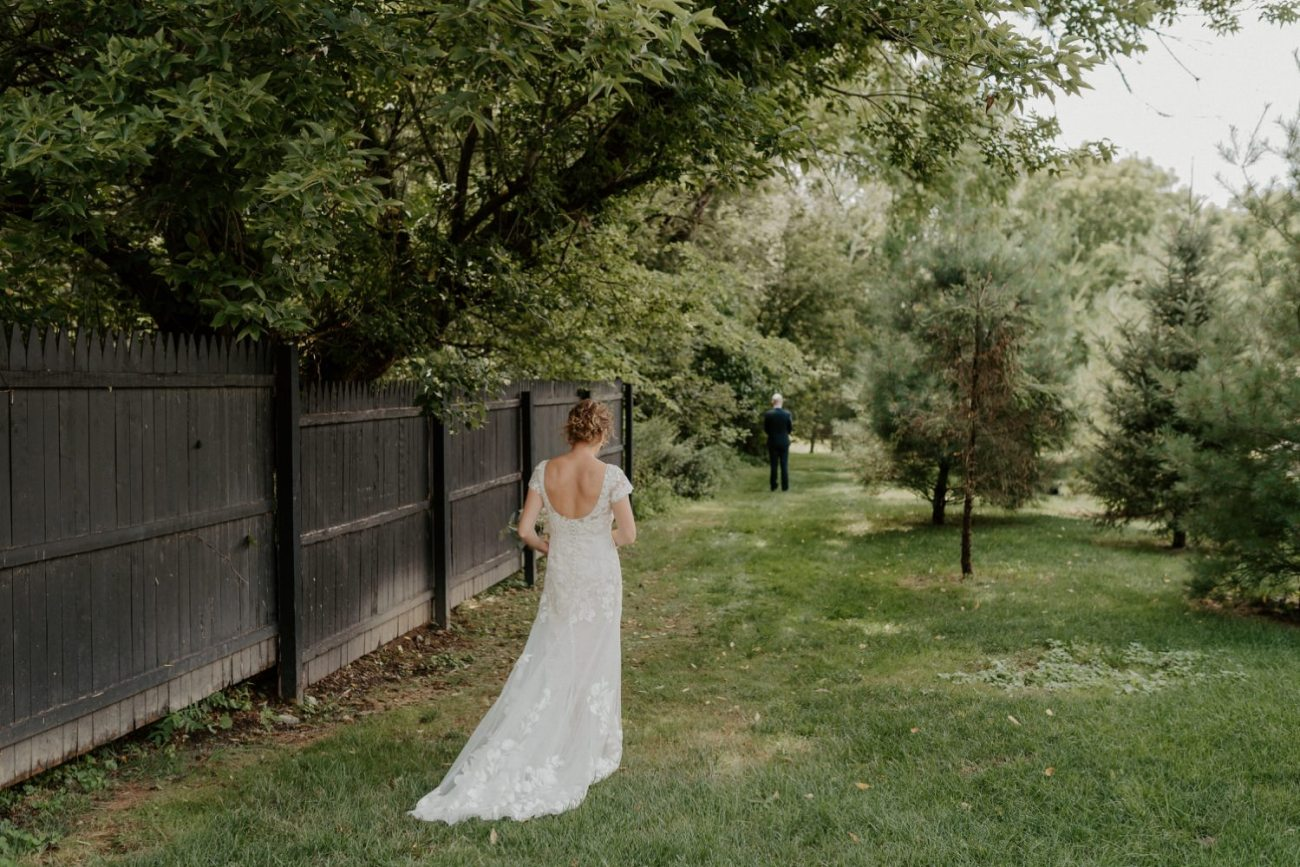 Bride and Groom first look at Jacks Barn Oxford New Jersey Wedding Venue. New Jersey Wedding Photographer NJ Wedding Venue Rustic Barn Wedding Anais Possamai Photography 011
