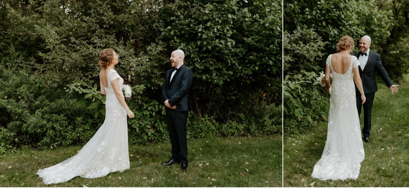 Bride and Groom first look at Jacks Barn Oxford New Jersey Wedding Venue. New Jersey Wedding Photographer NJ Wedding Venue Rustic Barn Wedding Anais Possamai Photography
