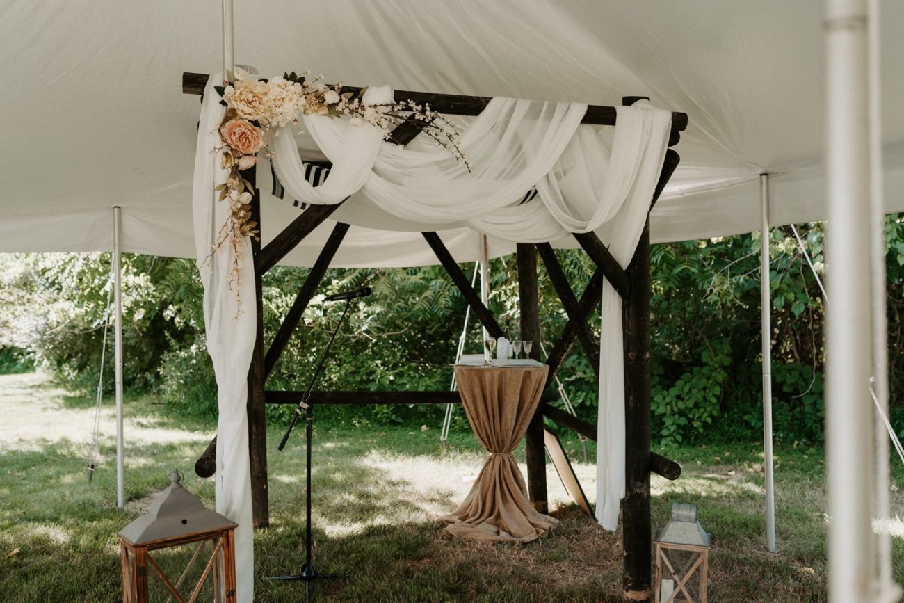 Outdoor Wedding ceremony site at Jacks Barn Oxford New Jersey Wedding venue. New Jersey Wedding Photographer NJ Wedding Venue Rustic Barn Wedding Anais Possamai Photography