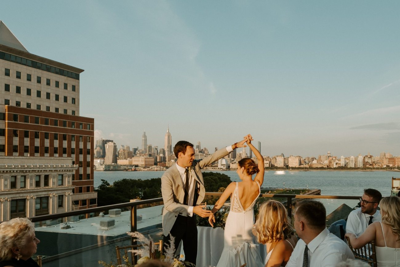 Bride and Groom sharing their first dance at the Antique Loft Hoboken Wedding Venue. New Jersey Wedding Photographer Anais Possamai Photography 085