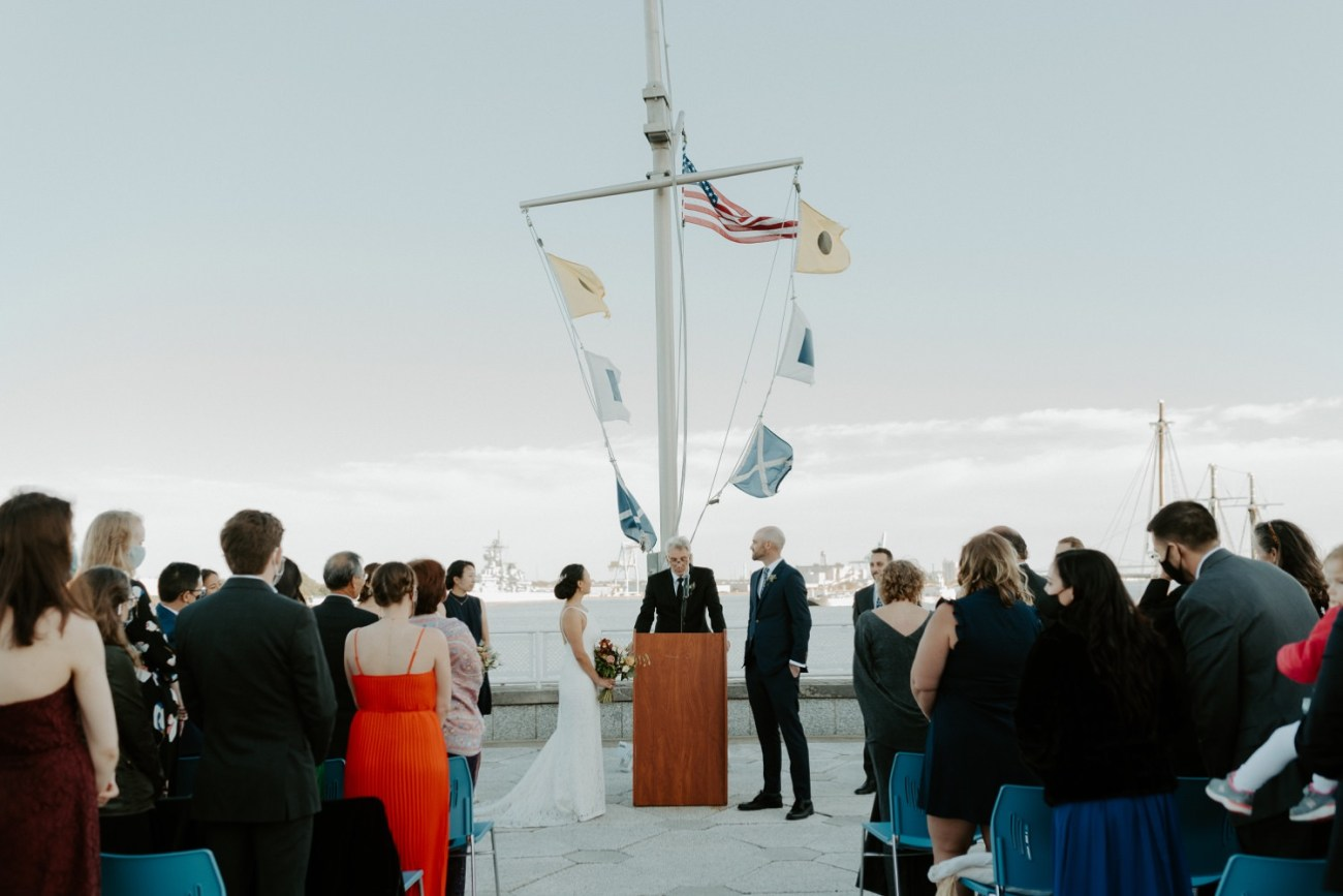 Bride and Groom during their ceremony at the Independence Seaport Museum Philadelphia Wedding Venue