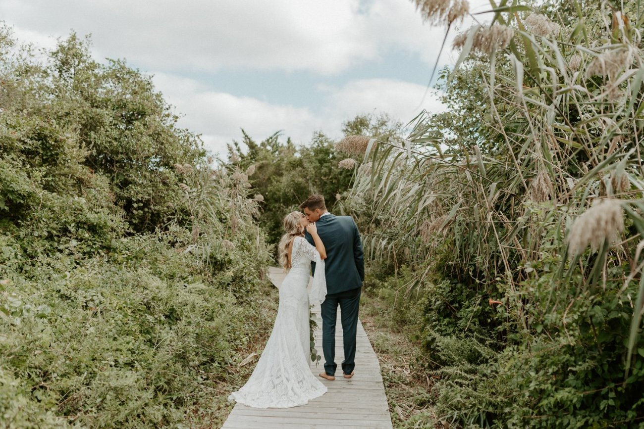 Bride and Groom portrait in Long Beach Island New Jersey, Anais Possamai Photography
