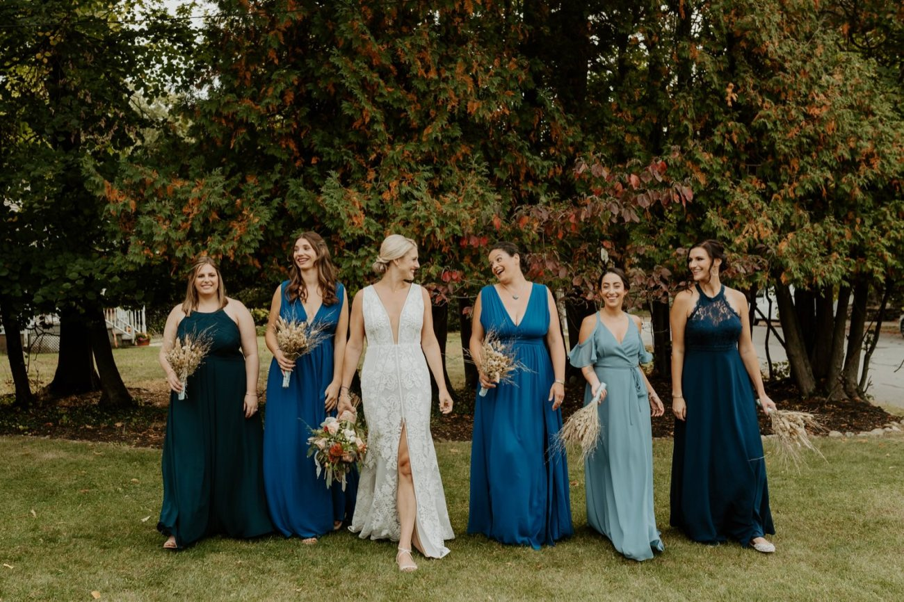 Bridal Party inspiration. Bridal party in different shade of blue with dry flowers bouquet
