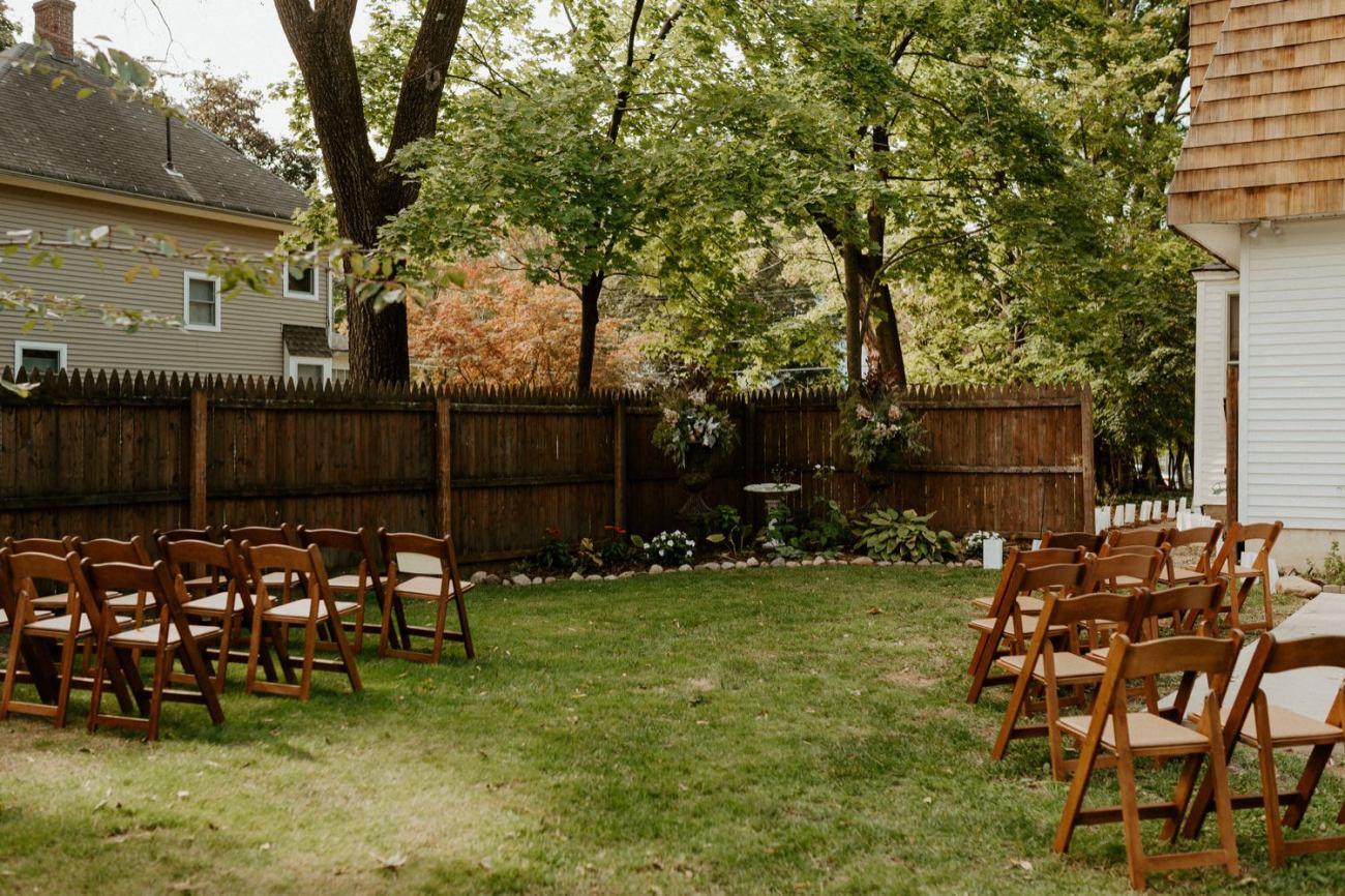 Backyard wedding ceremony site. Backyard wedding inspiration for ceremony