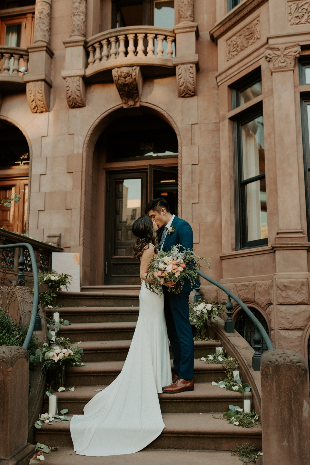 Bride and Groom on Brownstone House in Brooklyn for their Backyard Wedding
