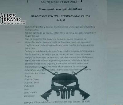 """Grupo armado """"declara la guerra"""" a las Autodefensas Gaitanistas de Colombia en el Bajo Cauca"""