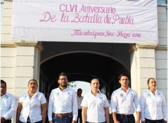Conmemoran el CLVL de la Batalla de Puebla en Tlacotalpan