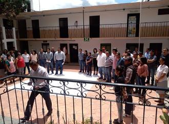 Simulacro de sismo en el Palacio municipal de Xico