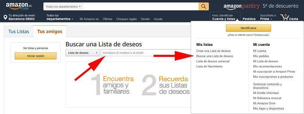 listas de deseos de Amazon