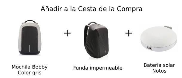 Pack mochila bobby funda y cargador solar