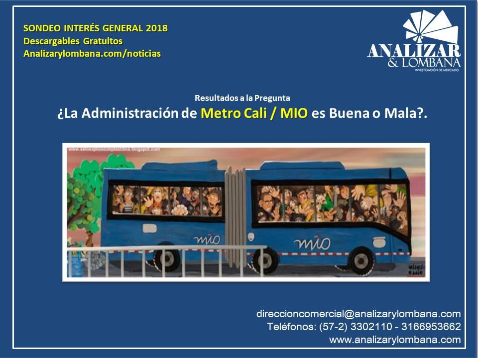 RESULTADOS SONDEO INTERÉS GENERAL 2018 ¿La Administración de Metro Cali / MIO es Buena o Mala?.