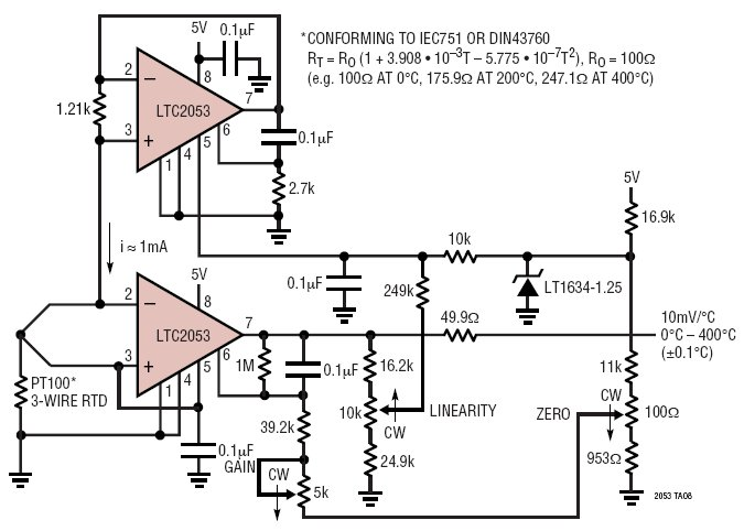 Single 5V Supply Linearized 0°C To 400°C Platinum RTD