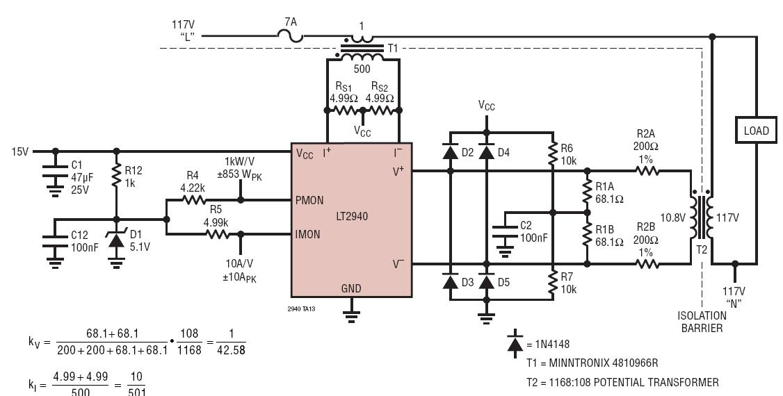LT2940 Fully Isolated AC Power And Current Monitor Circuit