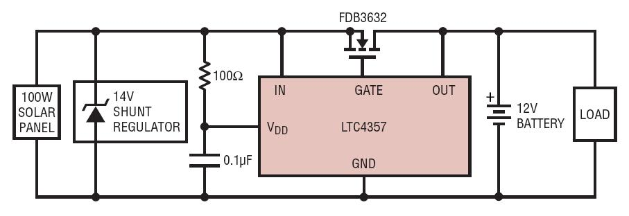 LTC4357 Solar Panel Charging 12V Battery Through Ideal