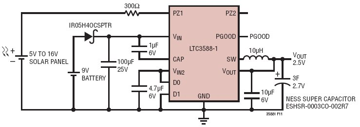 LTC3588-1 5V To 16V Solar-Powered 2.5V Supply With