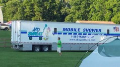 Mobile shower truck was late, but I heard it was pretty fantastic inside