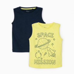 Pack 2 Camisetas bebes sin mangas space Zippy