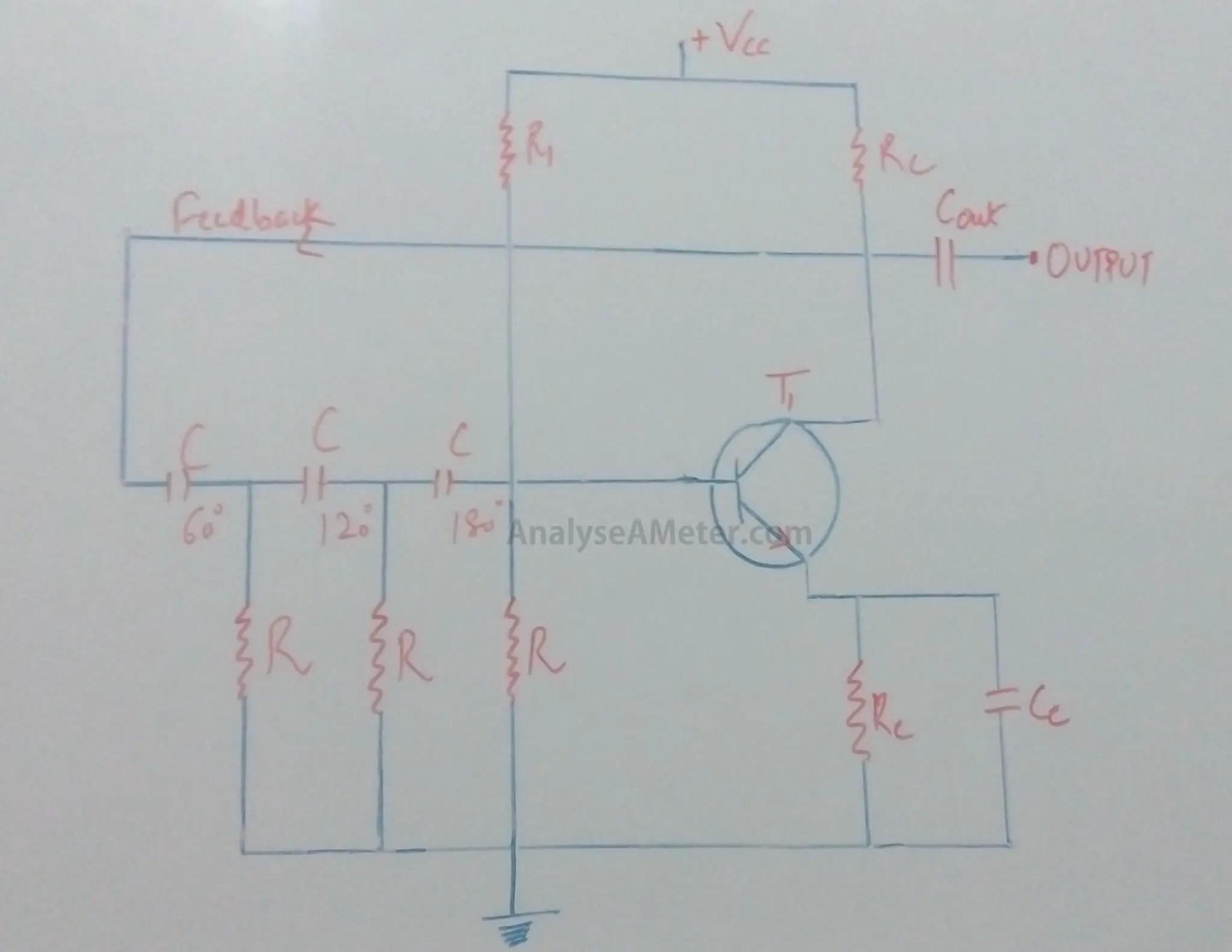 hight resolution of phase shift oscillator circuit explanation using opamp transistor