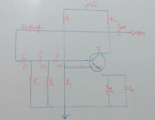 small resolution of phase shift oscillator circuit explanation using opamp transistor