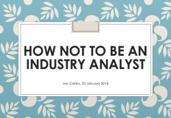 Jon Collins: How not to be an industry analyst (IIAR website)