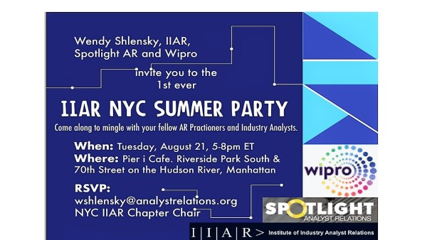 Wendy Shlensky, IIAR, Spotlight AR and Wipro invite you to the 1st ever IIAR NYC Summer Party. Come along to mingle with your fellow AR practitioners and Industry Analysts. When: Tuesday 21st August 2018. Where: Pier I Cafe, Riverside Park South and 70th Street on the Hudson River, Manhattan