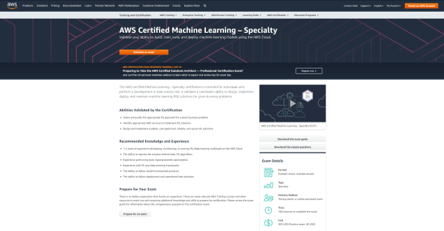 Certified Machine Learning – Specialty (Data Science Certification)