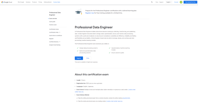 Google Certified Professional Data Engineer (Data Science Certification)