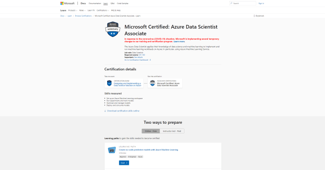 ified: Azure Data Scientist Associate (Data Science Certification)