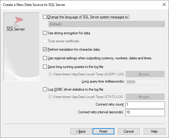 Create a New Data Source to SQL Server - Settings