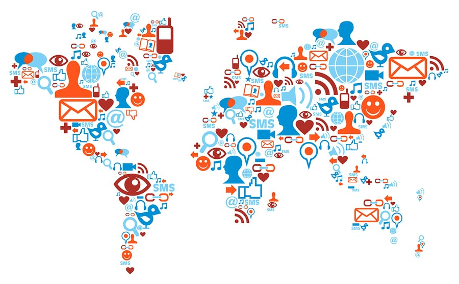 Social media network icons in world map shape concept