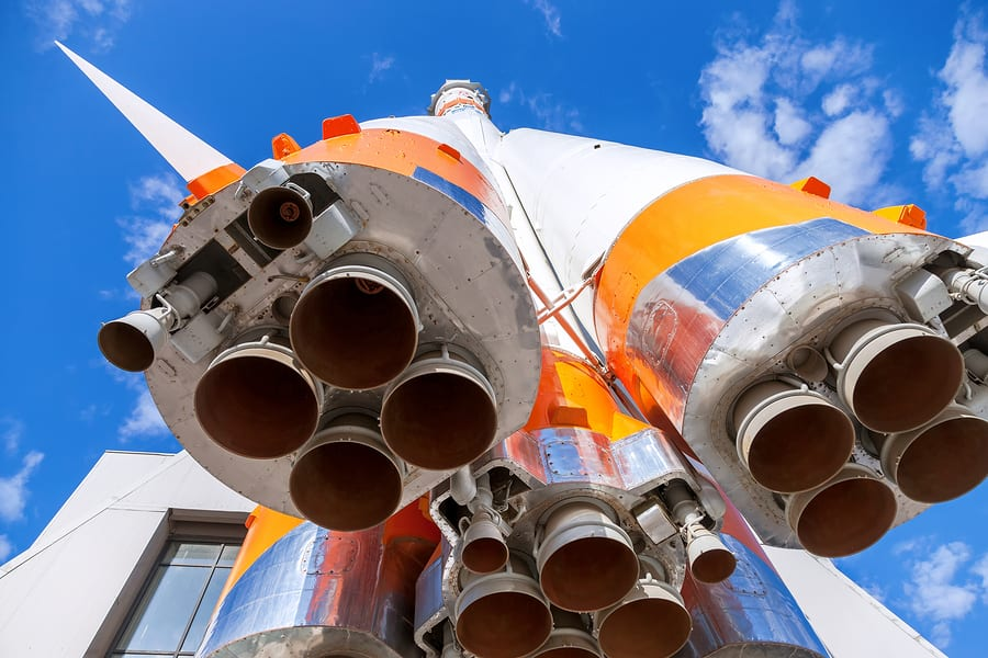 """SAMARA RUSSIA - APRIL 11 2015: Rocket engine of """"Soyuz"""" type rocket. Soyuz launch vehicle is the most frequently used launch vehicle in the world"""