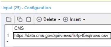 CMS Column of the Text Input Tool