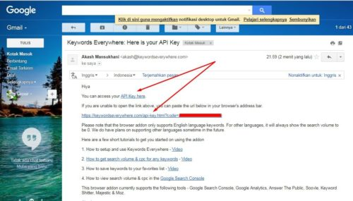 4 Keyword Everywhere - Keyword Tool Link API Key