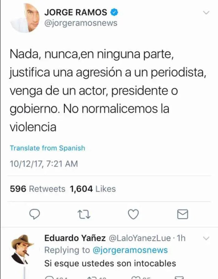 Este es el Twitt de Jorge Ramos y la respuesta que le envió Eduard Yáñez