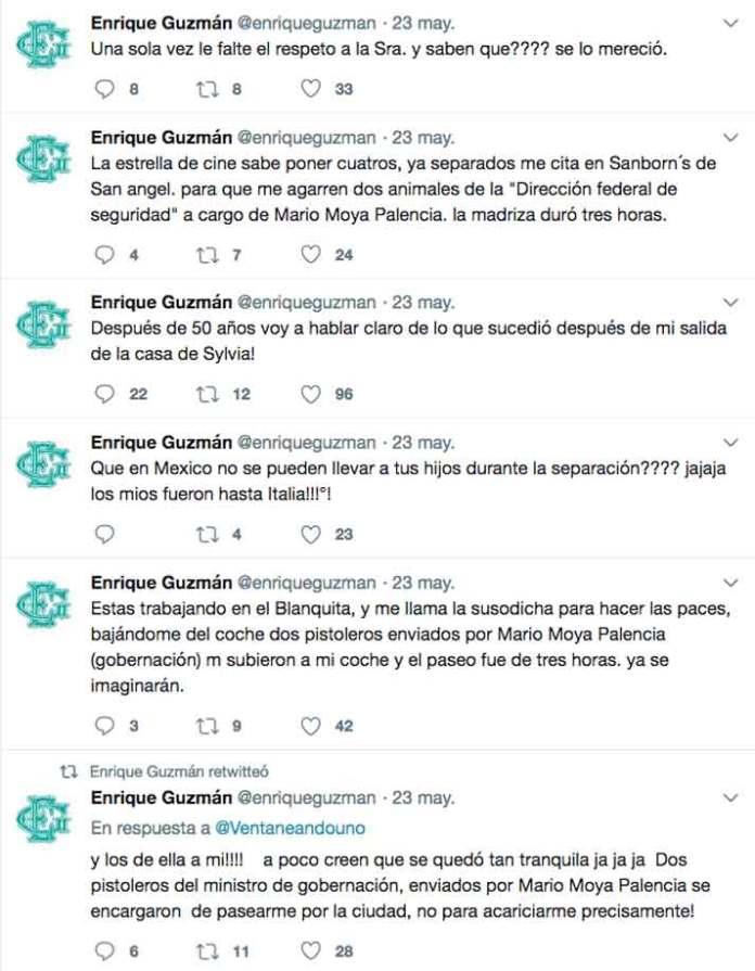 El cantante usó su cuenta de Twitter para contar cómo Silvia le mandó dos pistoleros