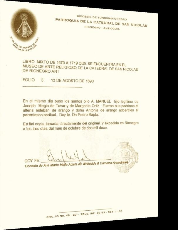 Partida de Bautismo de Manuel Megia Ortiz-Año 1690