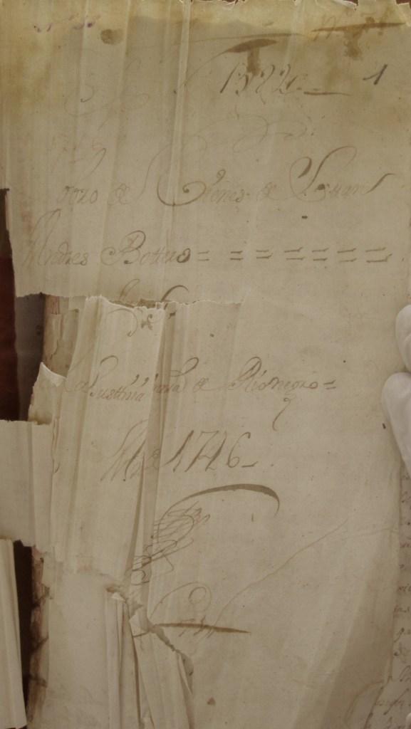 [Folio 1r] N. 1582 Cobro de bienes de Juan Andrés Botero Juez La justicia ordinario de Rionegro Año de 1746 N. 71