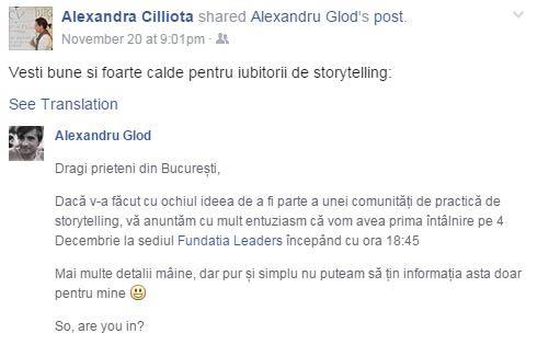 storytelling conversation facebook chat alexandru glod anamariapopa.com ana maria popa storyteller public speaking training bucuresti 4 decembrie 2014 alexandra cilliota