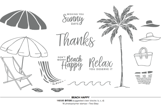 Stampin' Up! Beach Happy | 16 Photopolymer Stamps