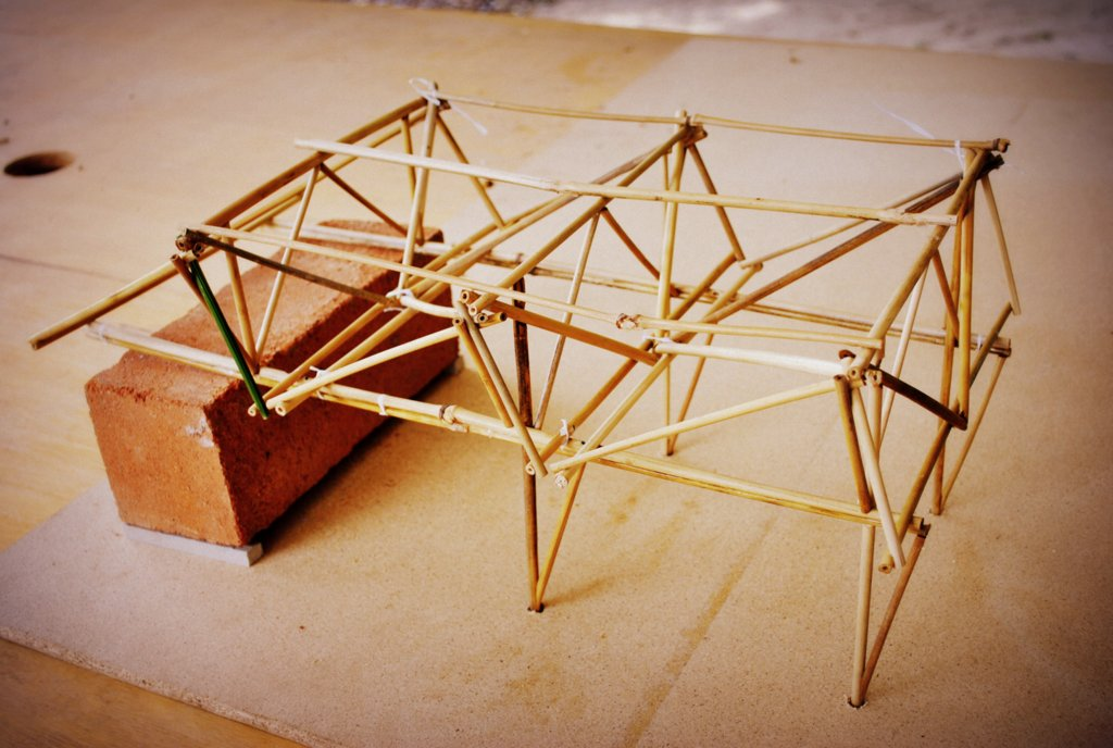 Bamboo Workshop Shed Constructed Space Frame Structure