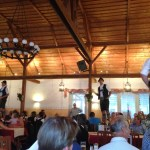This is a normal occurrence at Bavarian restaurants. Ordinarily if you walk into a place in the States and see men standing on tables, wearing leather trousers and holding whips, you quickly realize that you have stumbled into the wrong venue and quietly leave.