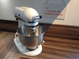 The extremely heavy Kitchen-Aid. There is a stain under it which Eve will never discover.