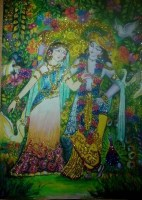 A Drawing of Radha-Krishna with oil pastel and glitters.....