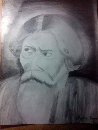 A sketch of Rabindranath Tagore...